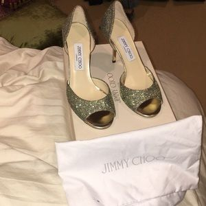 Jimmy Choo peep toe evening shoes
